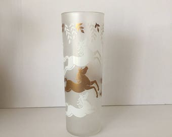 Libbey Cavalcade Horse Gold White Frosted Drinking Glass Tumbler Replacement Piece Mid Century Barware Zombie Glass