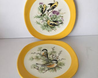 W.S. George Bird Plates Finch Chickadee Yellow Set of Two Bread or Salad Plates Nature Ornithologist Bird Lovers