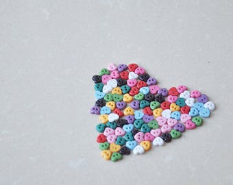 100pcs+ 6mm Tiny Heart Buttons for Baby/Babydoll Clothing