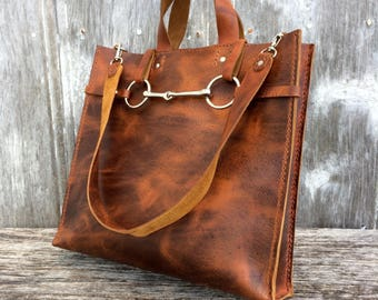 Handmade Leather Equestrian Tote - Horse Bit Bag in Autumn Harvest Leather by Stacy Leigh