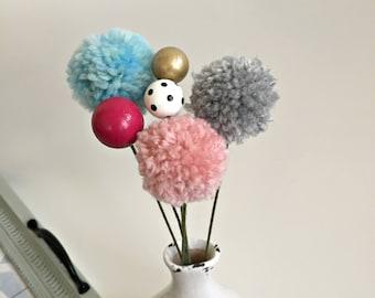 modern, painted wooden bead flower bouquet yarn pom pom Valentine flowers, faux fake contemporary fabric flower stem Valentine bouquet