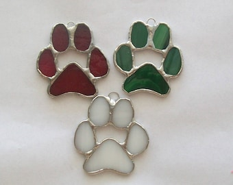 Paw print ornament set 3 pet memorials or ornaments in stained glass paws for cat or dog