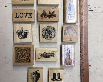 Vintage Inspired Rubber Stamp Lot. 13 Pieces
