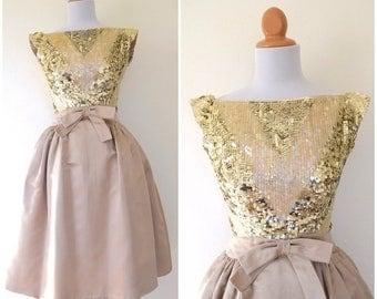SUMMER SALE/ 30% off Vintage 50s 60s Golden Sands Sequined Chevron Bodice New Look Satin Party Dress (size xs, small)