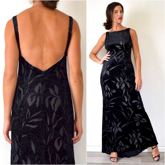 SUMMER SALE/ 30% off Vintage 90s Black Velvet Floral Cut Out Open Back Maxi Dress (size
