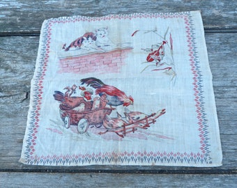 Vintage Antique French 1920/1930s kitty cats playing & other anthropomorphic animals cotton printed handkerchief