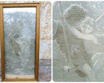 Vintage Antique French XIXeme century Neyret freres silk damask tapestry framed