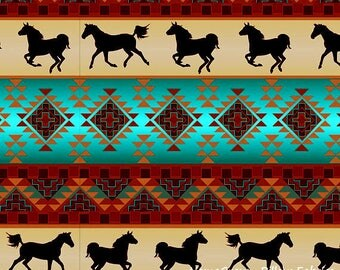 Spirit of the Southwest, Brick Turquoise Fabric by David Textiles, Horses, Cotton Fabric - HALF YARD