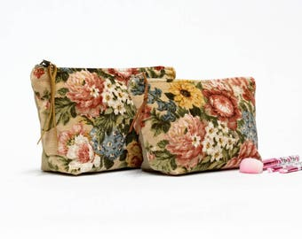 Large Velvet Cosmetic Bag, Vintage Fabric Makeup Bag, Pink Roses Bridal Cosmetic Bag, Velvet Zipper Pouch, Handmade by EllaOsix