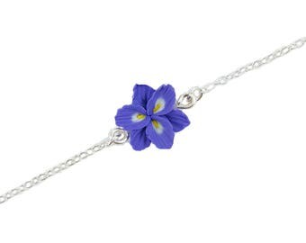 Purple Freesia Sterling Silver Anklet or Bracelet - Freesia Ankle Bracelet Jewelry