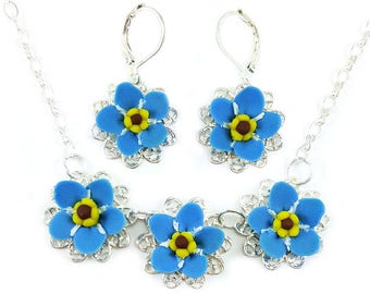 Forget Me Not Jewelry Set - Trio Forget Me Not Jewelry, Filigree Flower Jewelry, Blue Forget Me Not