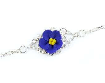 African Violet Clasp Bracelet - African Violet Jewelry, African Violet Filigree Bracelet, African Violet Flowers
