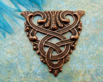 ANTIQUE COPPER * Scroll Crest Celtic Stamping ~ Jewelry Ornamental Findings (CB-3061)
