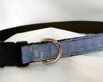 Brocade Silk  - Large Dog Collar - Periwinkle - 1 Inch Wide - Adjustable Between 16-25 Inches - Exquisite - Weddings - READY TO SHIP