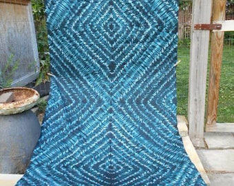 3.25 yds, Vtg Shibori cotton damask fabric, dark teal and black - hand dyed, African tie dye, early 1990s Freetown Sierra Leone