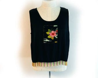 Sweet Little Black Top with Beads Vintage 80s Black with Floral Applique Sleeveless Scoop Neck Summer Blouse Boho Hippie Unique! Casual Top