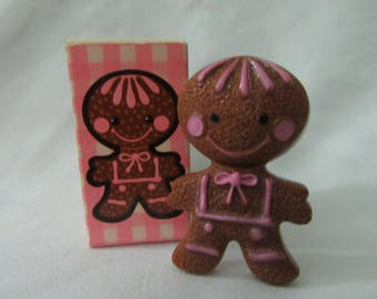 Vintage 70s Avon Novelty Gingerbread Pin Pal Fragrance Glace Christmas w Box Juvenile 1970s 70s Collectible Display