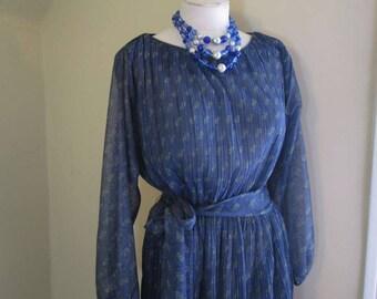70s Disco Dress Blue paisley Silver pleated dress 70s Vintage Blue Sheer Knit Dress 70s Metallic party Dress vintage 70s S M