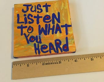Listen Original WORD ART Painting - NayArts