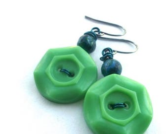 BUTTON JEWELRY SALE Bright Kelly Green Button Earrings with Teal  - Fun Jewelry