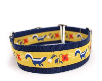 "1.5"" So Stinkin' Cute yellow buckle or martingale dog collar"