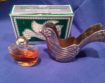 AVON 1976 Silver Dove Ornament Bird of Paradise Cologne