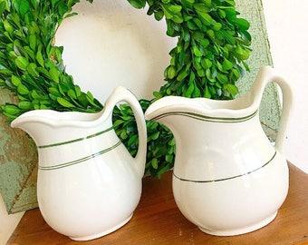 Farmhouse Chic... Two Antique Vintage White Ironstone Pitcher Vases Restaurantware China Farmhouse Decor
