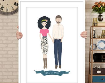Custom couple portrait, couple illustration, personalized portrait, rehearsal dinner sign, bride and groom sign, wedding sign, wedding decor