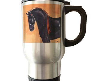 Black Percheron Draft Horse Mug Stainless Steel Travel Mug Ceramic Mug Heat Morph Percheron horse lover Percheron horse gift Percheron art