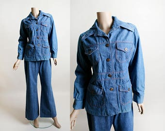 Vintage 1970s Denim Pant Suit - 70s Jean Jacket and Flared Bell Bottom Style Jeans - Androgynous - Cotton - Medium