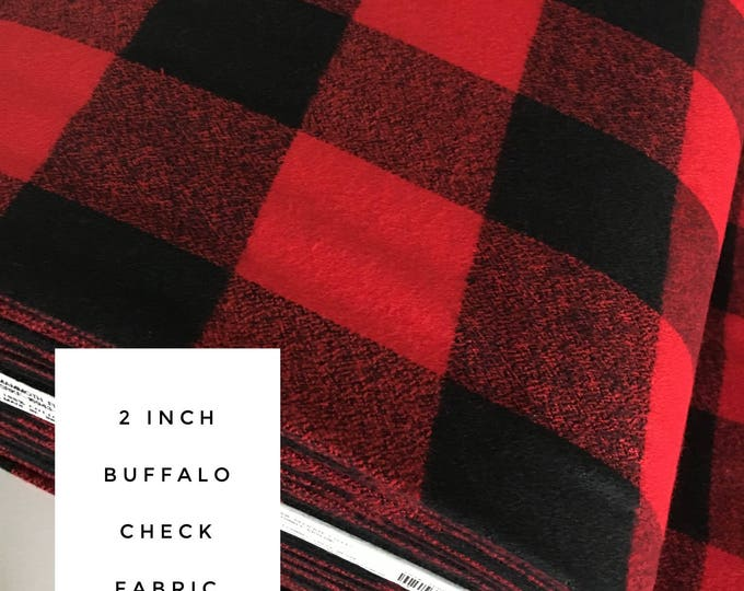 Buffalo Plaid, 2 inch check, Mammoth Flannel fabric, Red Black Plaid, Flannel by the yard, Apparel fabric, Mammoth Flannel in Red Black