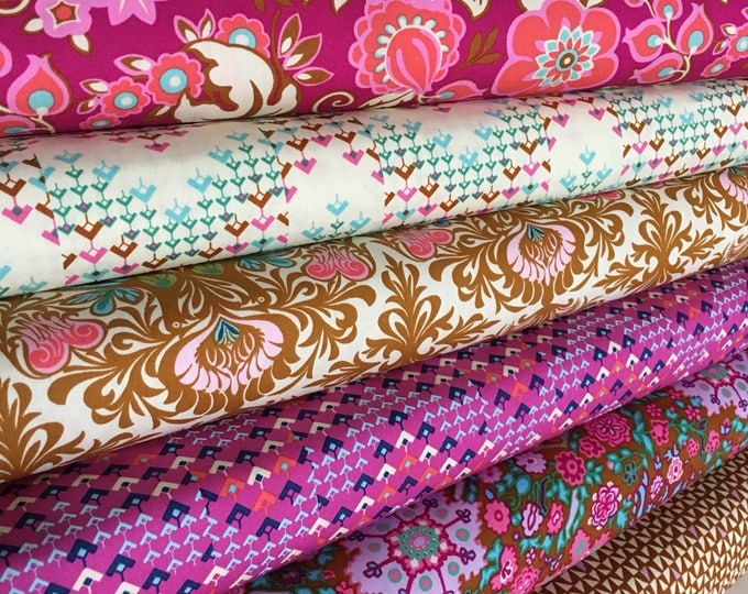 Amy Butler Soul Mate Fabric, Girl Nursery Ideas, Teen Quilt Gift, Gift for Quilter, Floral Decor, Fabric Bundle of 6- Choose the Cut