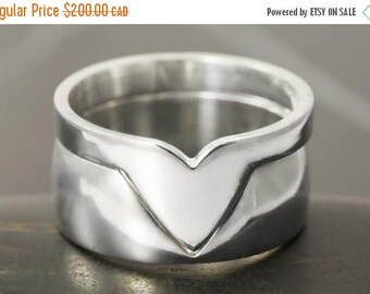 CLOSING SALE Stacking modern wedding bands set in sterling silver puzzle ring - size 7.5 ready to ship