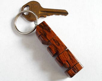 WTF! - Sample Name Keychain in Bocote Wood
