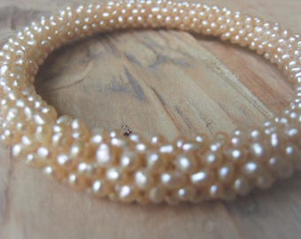 Pearl Bangle Freshwater Pearl Bracelet Natural Peach Pearl Bridal Jewelry Item No. 1099