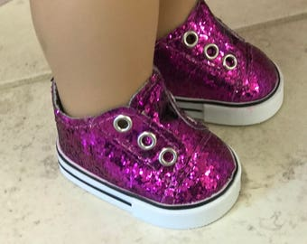 Girl Doll Shoes,Purple Glitter Doll Sneakers, 18 inch Doll tie less sneakers, American Doll Glitter Sneakers, Girl Doll Shoes, Ready to ship