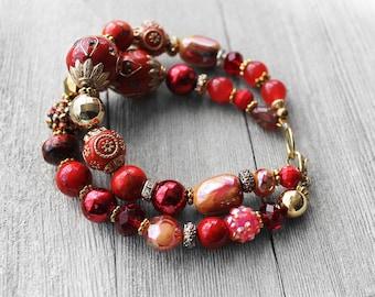 Beaded Bracelet, Red, Double Stand Beaded Bracelet, Bead Bracelet, Mixed Bead Bracelet, Sahara Sunset Red Beaded Bracelet