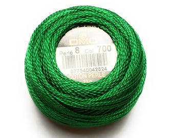 DMC 700- Perle Cotton Thread Size 8 - Bright Green - Great to sew Felt too