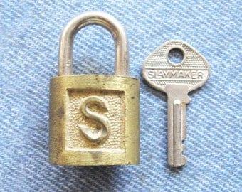 Slaymaker Brass Padlock & Key Railroad Lock Antique Vintage Miniature Hardware