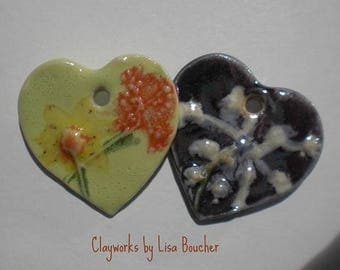 Porcelain Wildflower Heart Pendants