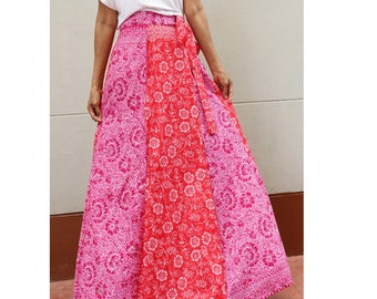 Handmade 8 Pieces Pink & Red Floral Thai batik Sarong patchwork long comfortable  wear wrap skirt fit all size (BT 16)