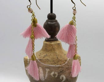 Pink Cotton Chandelier Tassel Earrings,Handmade Fringe Tassel Drop Earrings (70)