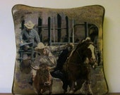 Tapestry Pillow Bull Dogging Rodeo Horse Cowboy Western Decor Ranch