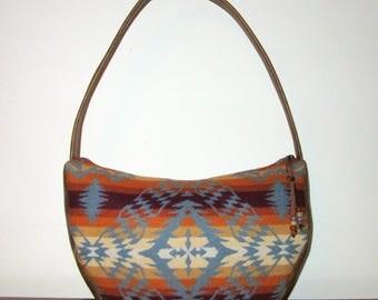 Hobo Bag Purse Shoulder Bag Handbag Brown Leather Southwest Blanket Wool from Pendleton Oregon