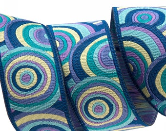 """Kaffe Fassett 7/8 Inch Wide Ribbon - Blue Purple Pink Target (sold by 12"""" increments) by Renaissance Ribbons KF-11-22-C3R"""