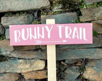 Bunny Trail Garden Sign Easter Decor Easter Bunny Yard Sign