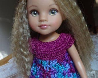 Crochet Baby Doll Top for H4H AG Wellie Wisher 14 15 inch doll  Purple Blue Lavender Turquoise