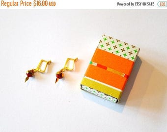 Gift Boxed Jewelry / Gift Boxed Earrings / Small Red Gold Earrings in Washi Tape Decorated Matchbox Jewelry Gift Box /Disco Ball Earrings