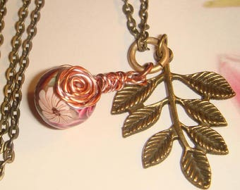 """My#200PC A Pretty Crimson Roses Polymer Clay Bead/w/Copper/Pink Spiral Roses with Antique Copper Chain 24""""...Bead Size: 14mm"""