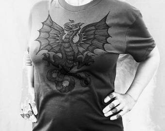 Wyvern Dragon Grey T-shirt St George Heraldry Boho Celtic Made In USA Sm M L XL XXL